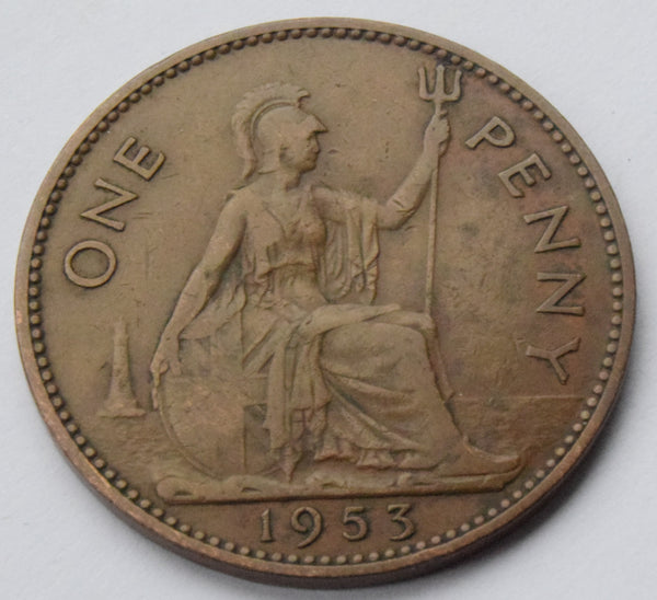1953 Queen Elizabeth II Bronze Penny Coronation Year. Scarce UK coin *