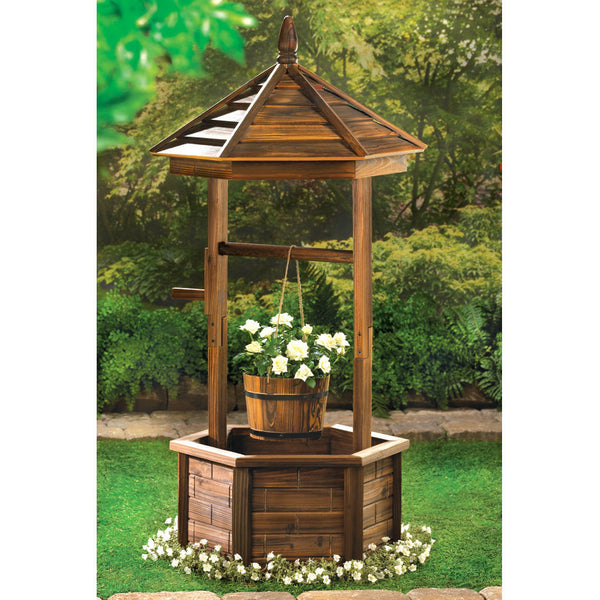 Wood Gazebo Wishing Well Garden Planter