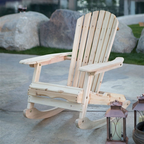 Patio Porch All Weather Indoor / Outdoor Natural Adirondack Rocking Chair