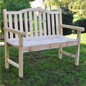 Outdoor Cedar Wood Garden Bench in Natural wood
