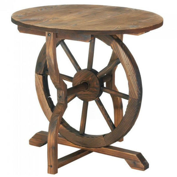 Wood Wagon Wheel End Table