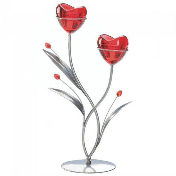 Double Blooming Hearts Candle Holder