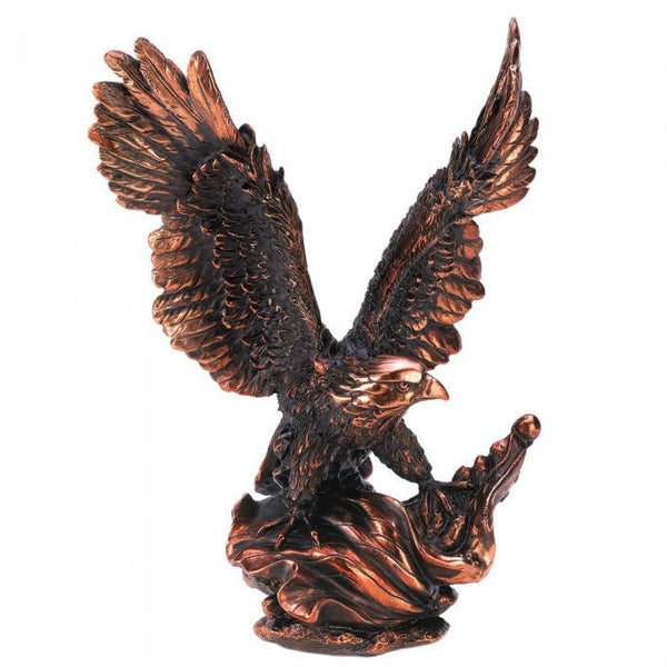 Bronze-Look Eagle in Flight Statue