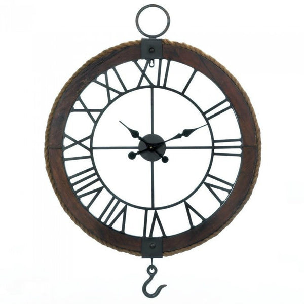 Industrial-Style Wood Wall Clock with Rope Detail