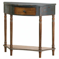 Vintage-Look Half-Moon Wood Hall Table