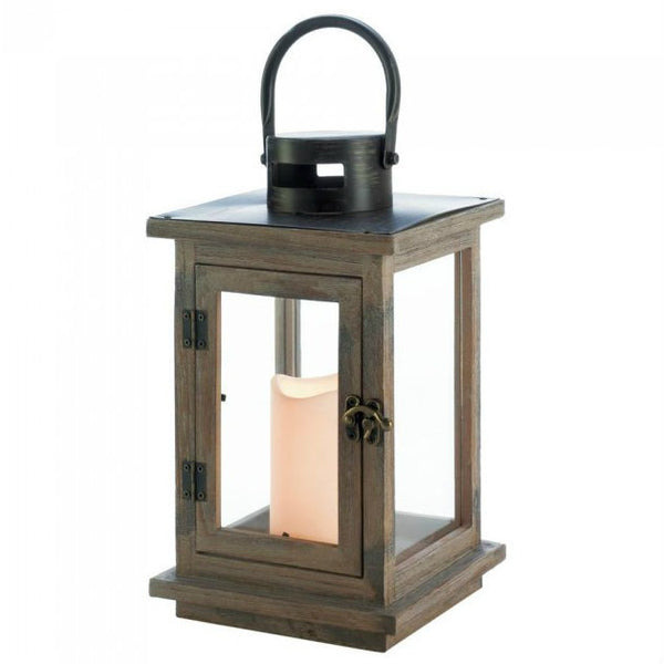 Rustic Wood Candle Lantern with LED Candle
