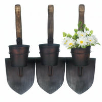 Three Shovels Rustic Wall-Mounted Planter
