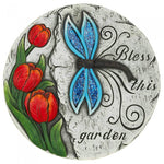 Dragonfly and Tulips Bless This Garden Cement Stepping Stone