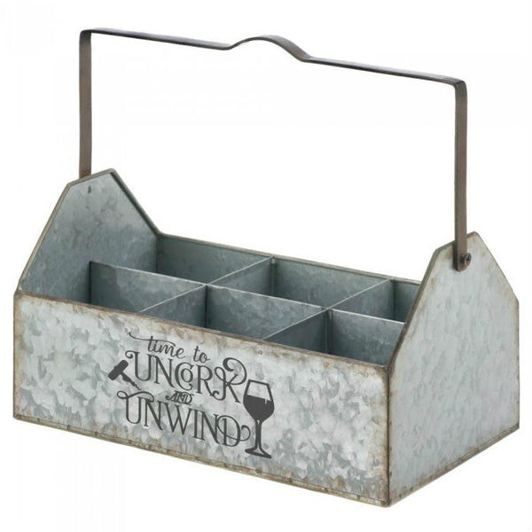 Galvanized Metal Wine Bottle Caddy
