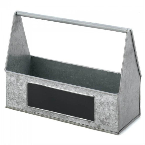 Galvanized Metal Caddy with Chalkboard Side