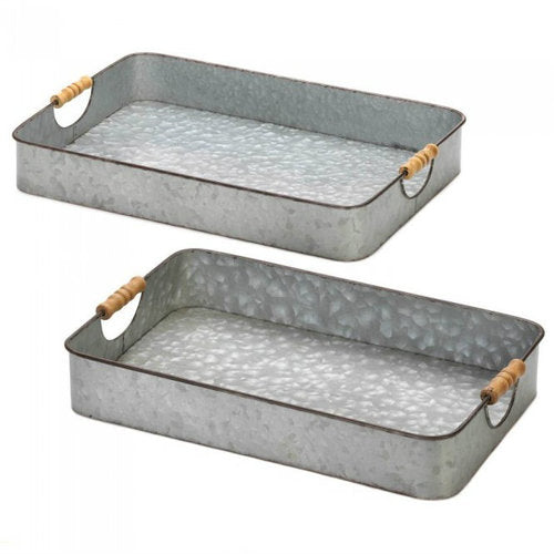 Galvanized Serving Tray Set
