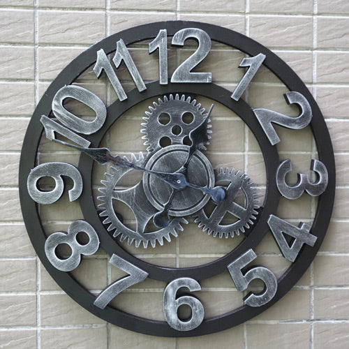 Wooden Vintage Gear Wall Clock
