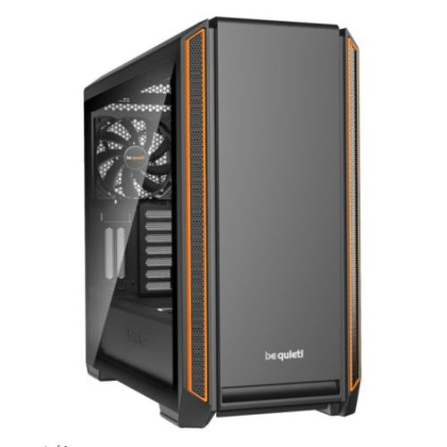 Be Quiet! Silent Base 601 Gaming Case with Window, E-ATX, No PSU, Tool-less, 2 x Pure Wings 2 Fans, PSU Shroud, Black & Orange