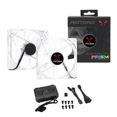 Riotoro Prism Fan Kit, 2 x 12cm Case Fans with Controller, RGB, 256 Colours, Hydraulic Bearing