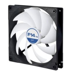 Arctic F14 Temperature Controlled 14cm Case Fan, Black & White, 9 Blades, Fluid Dynamic, 6 Year Warranty
