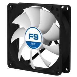 Arctic F9 9.2cm Case Fan, Black & White, 9 Blades, Fluid Dynamic, 6 Year Warranty