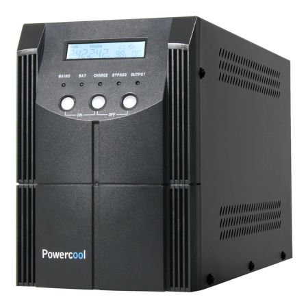 Powercool 2000VA Smart UPS, 1200W, LCD Display, 2 x UK Plug, 2 x RJ45, 4 x IEC, USB