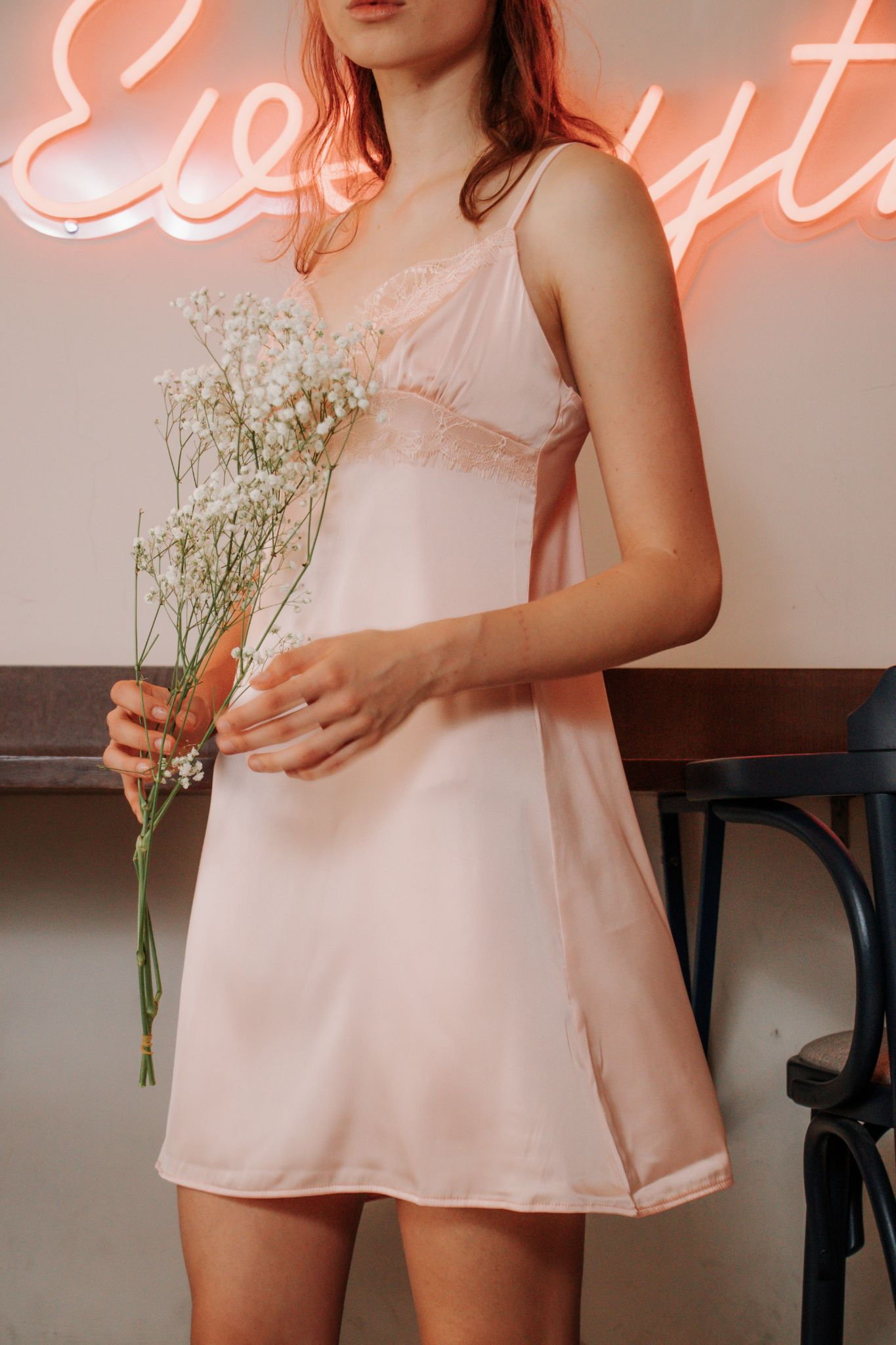 Gigi Ice Silk Slip Dress in Champagne
