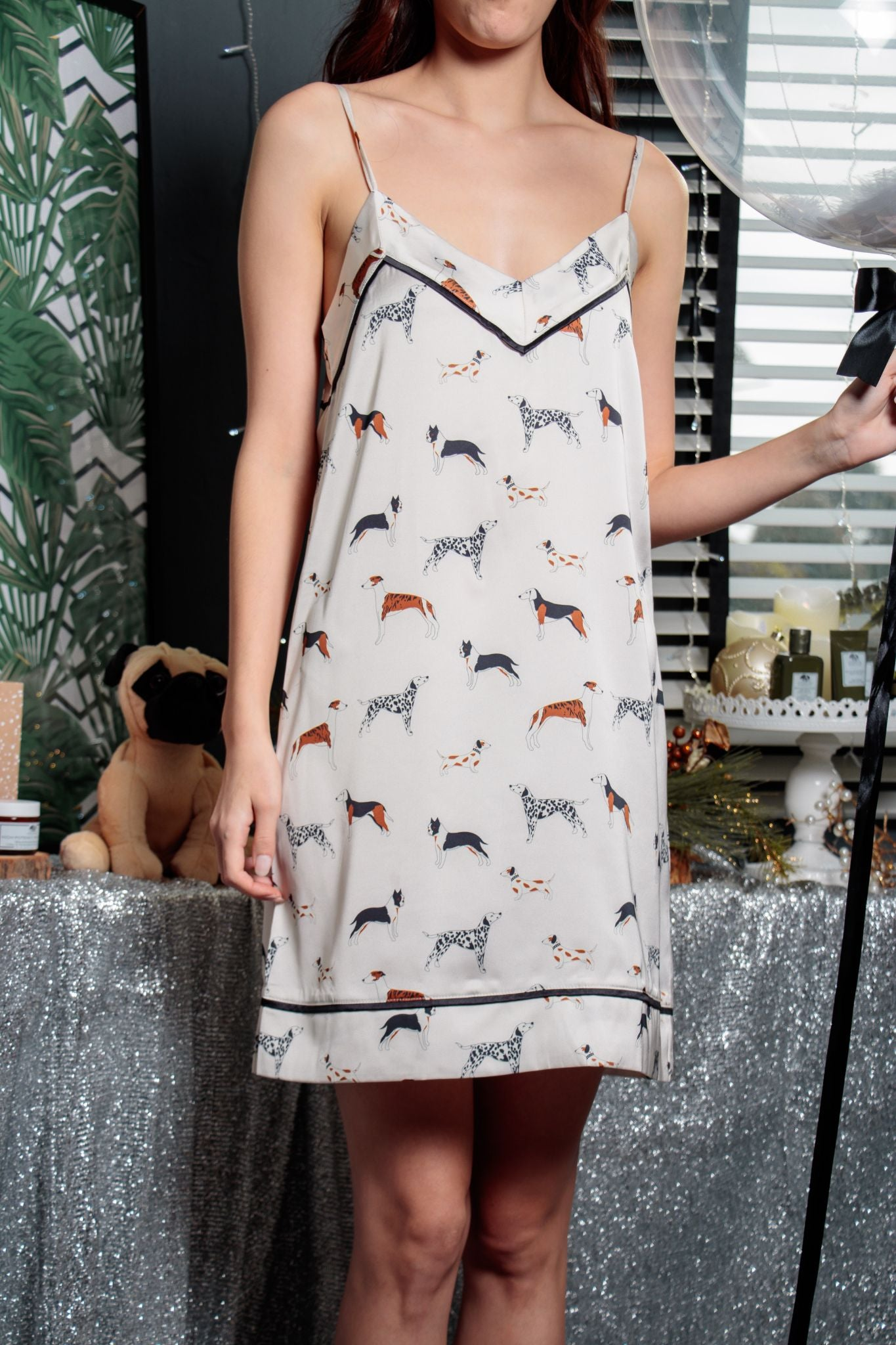 Love Me Love My Dog Camisole Dress in Ivory