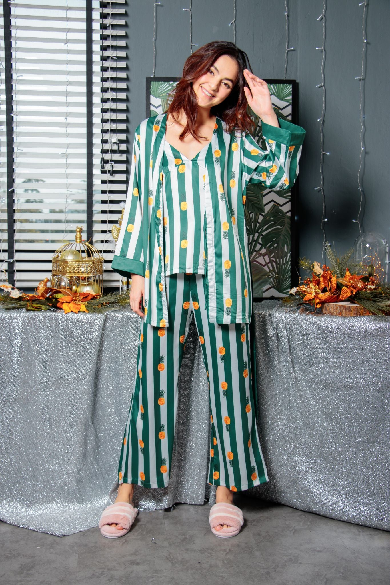Pandora's Pineapples & Stripes Lounge Set in Forest Rhyme