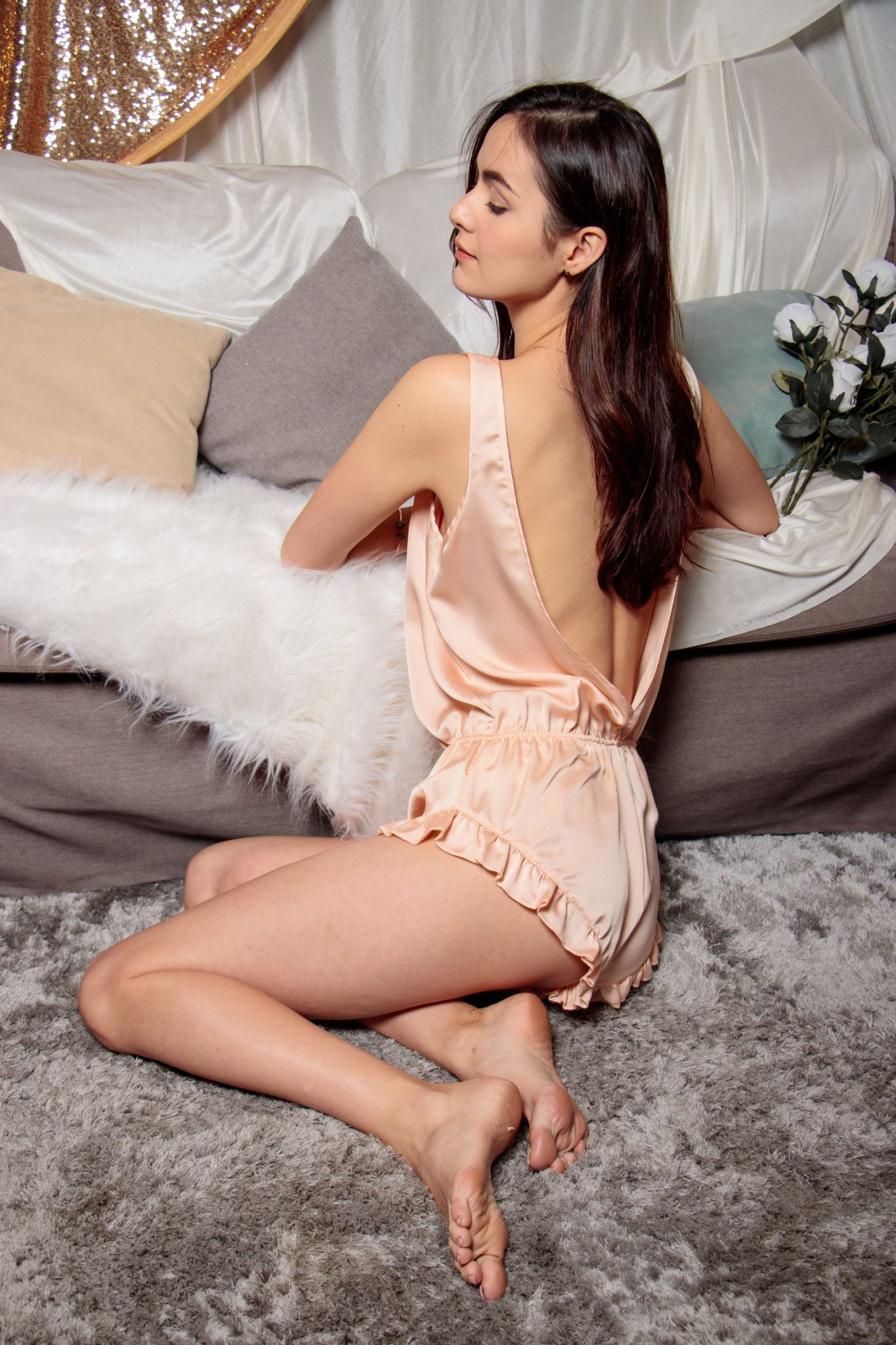 Alluring Back Playsuit in Noble Nude