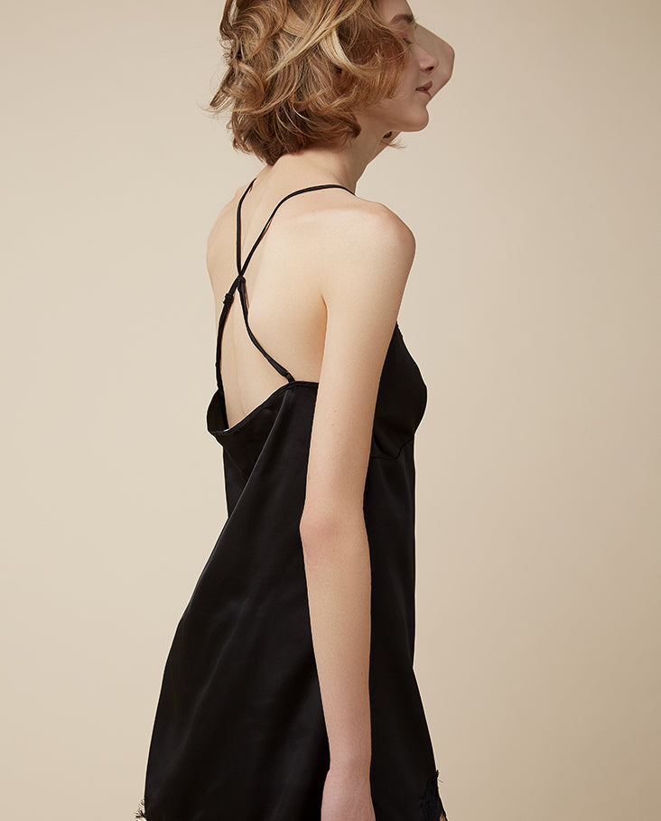 Emma Cross-Back Satin Slip