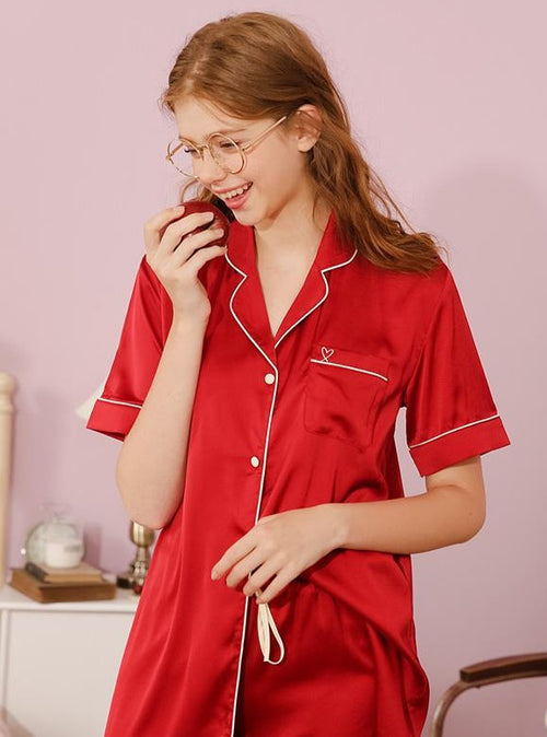 Charlotte PJ Set in Scarlet Red