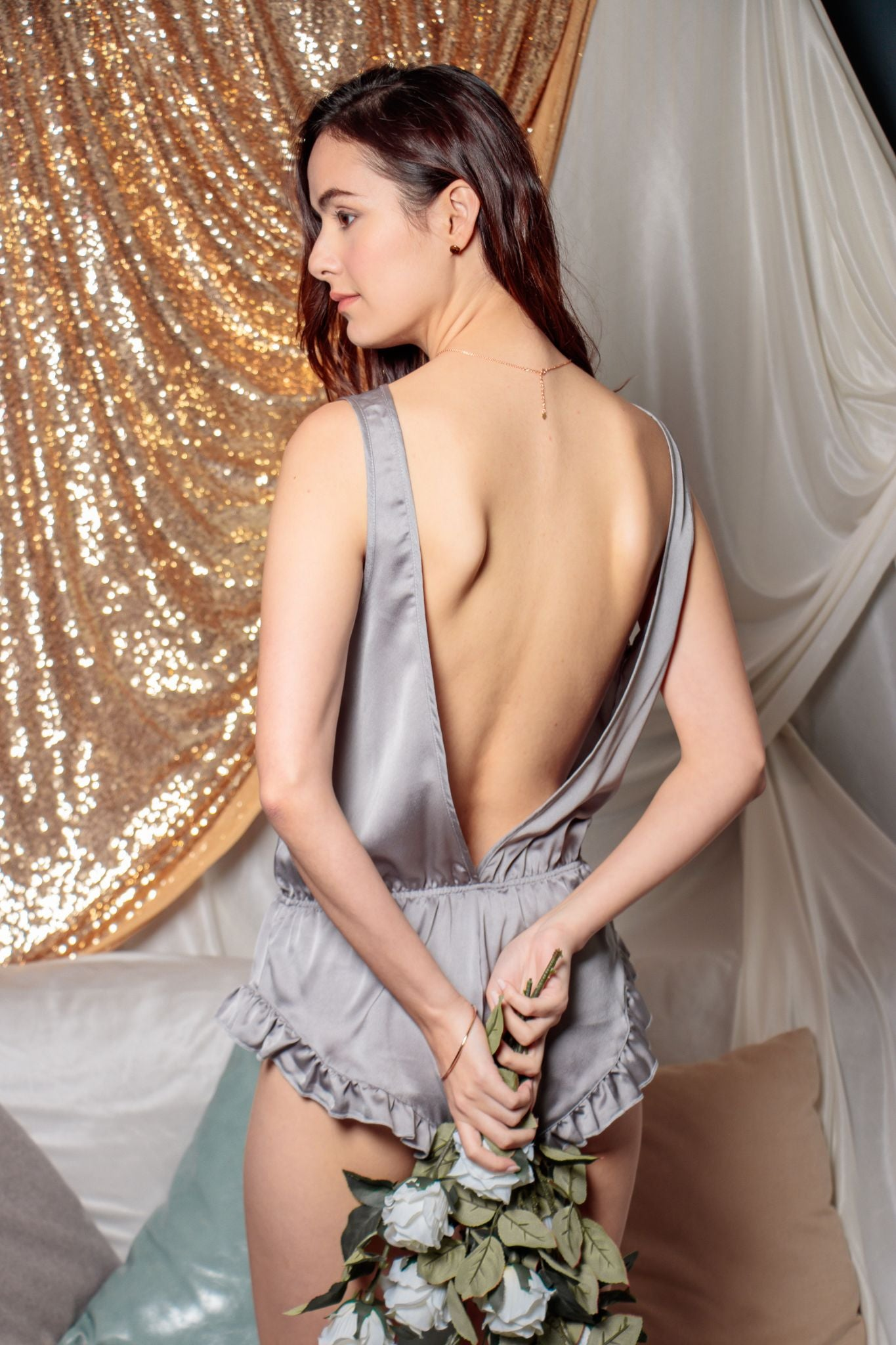 Alluring Back Playsuit in Pearl River