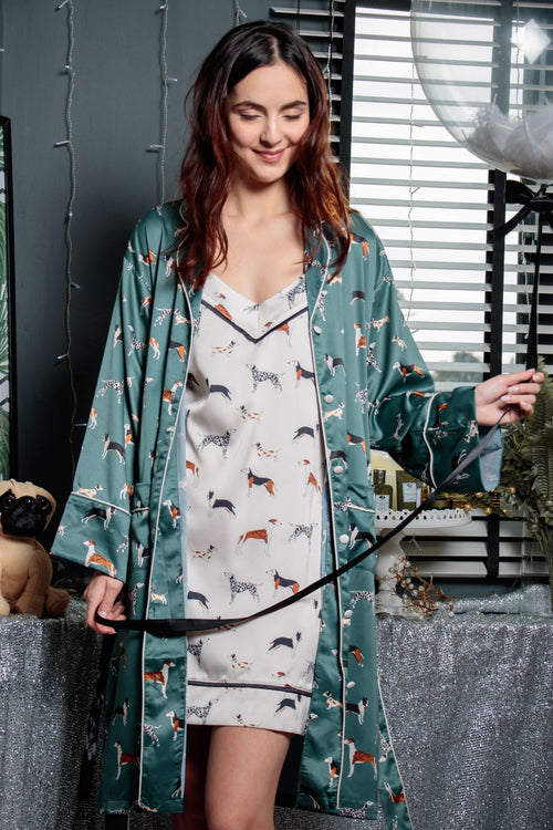 Love Me Love My Dog Kimono Robe in Deep Cerulean