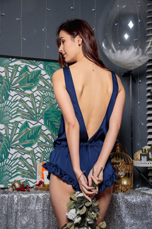 Alluring Back Playsuit in Midnight Sky