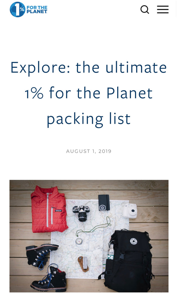 1% For the Planet ultimate packing list