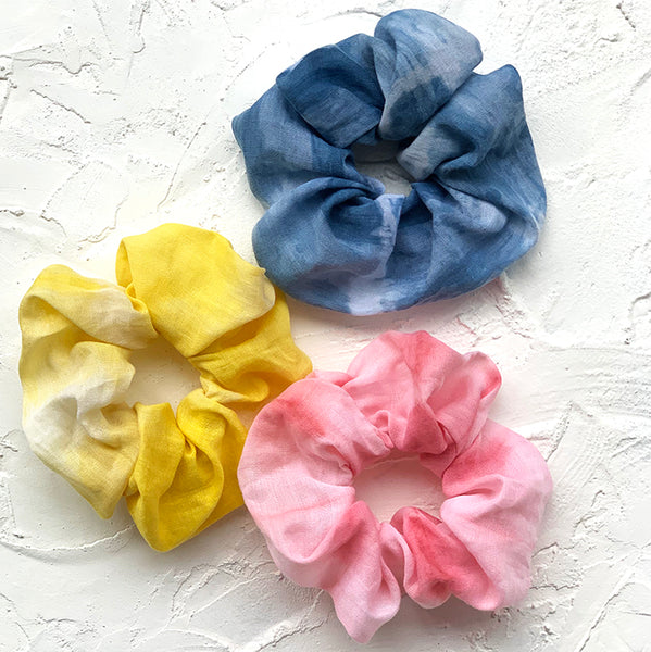 SHEL organic cotton sustainable scrunchies
