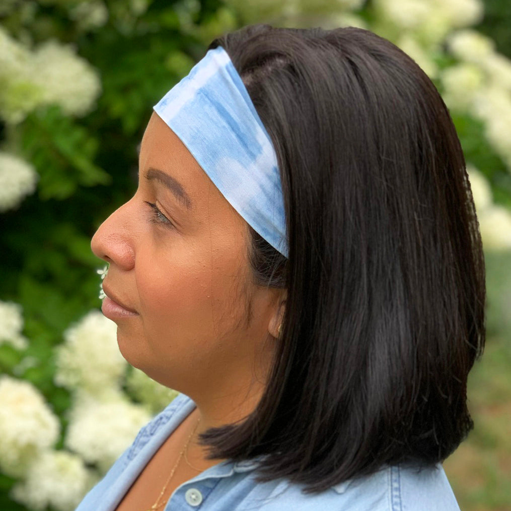 locally made indigo headband