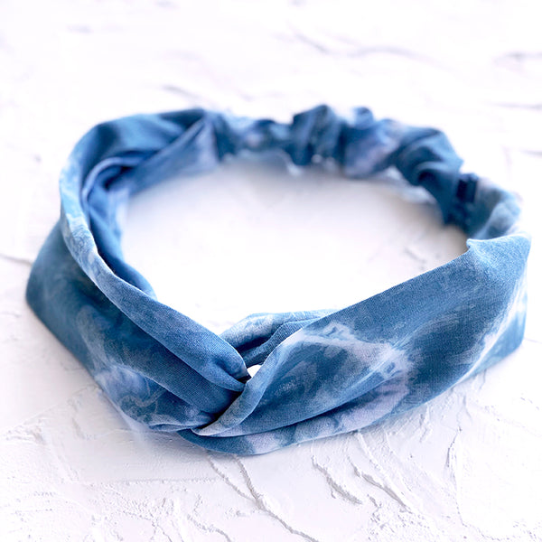 Indigo dyed organic cotton headband