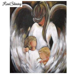 5D Diamond Painting Abstract Angel and Two Children Kit
