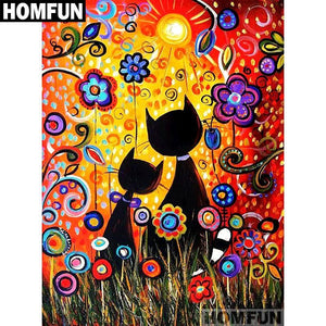 5D Diamond Painting Abstract Cats and Flowers Kit