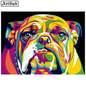 5D Diamond Painting Abstract Colored Bull Dog Kit
