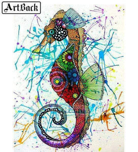 5D Diamond Painting Abstract Colored Sea Horse Kit