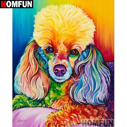 5D Diamond Painting Abstract Colored Toy Poodle Kit