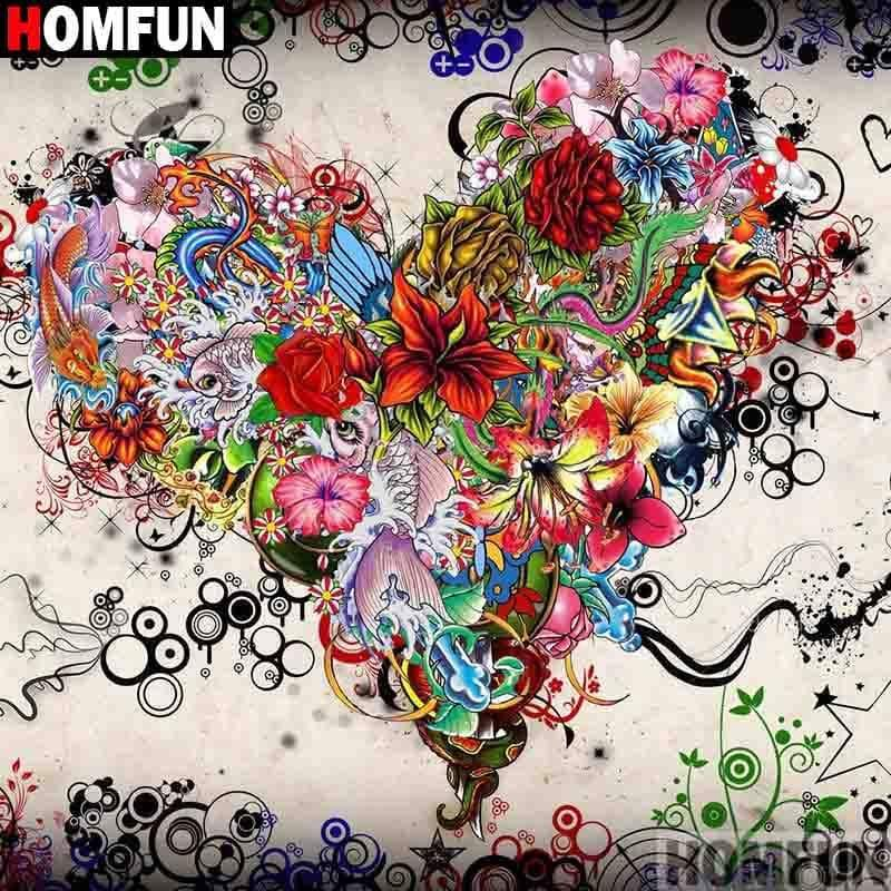 5D Diamond Painting Abstract Flower Heart Kit