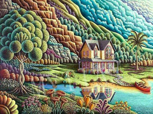 5D Diamond Painting Abstract Hillside House Kit