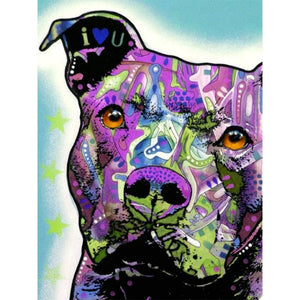 5D Diamond Painting Abstract Lavender Pit Bull Kit