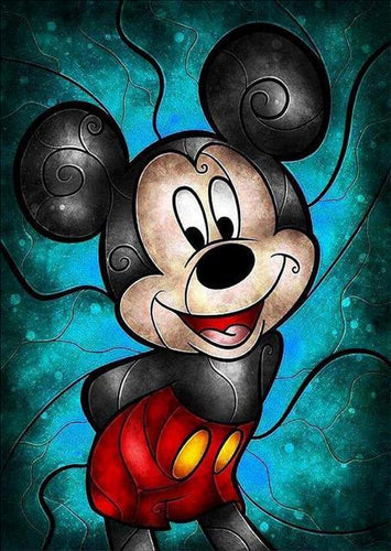 5D Diamond Painting Abstract Mickey Mouse Turquoise Kit