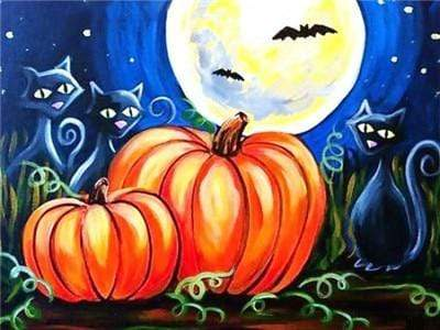 5D Diamond Painting Abstract Pumpkins and Black Cats Kit