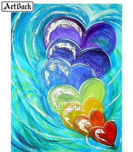 5D Diamond Painting Abstract Rainbow Hearts Kit