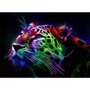 5D Diamond Painting Abstract Rainbow Leopard Face Kit