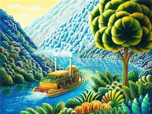 5D Diamond Painting Abstract Steam Boat Kit