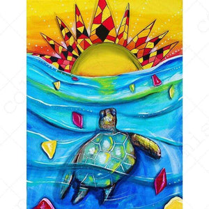 5D Diamond Painting Abstract Turtle and Sun Kit