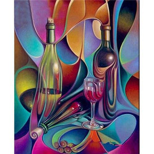 5D Diamond Painting Abstract Wine bottles kit
