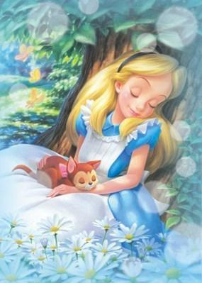 5D Diamond Painting Alice Asleep with a Cat Kit